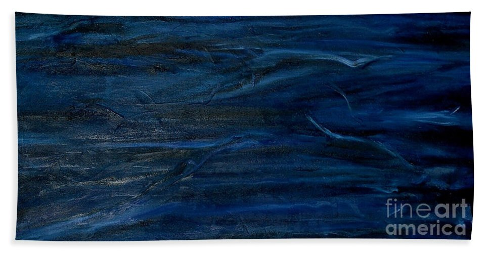 Abstract Hand Towel featuring the painting Immense Blue by Silvana Abel