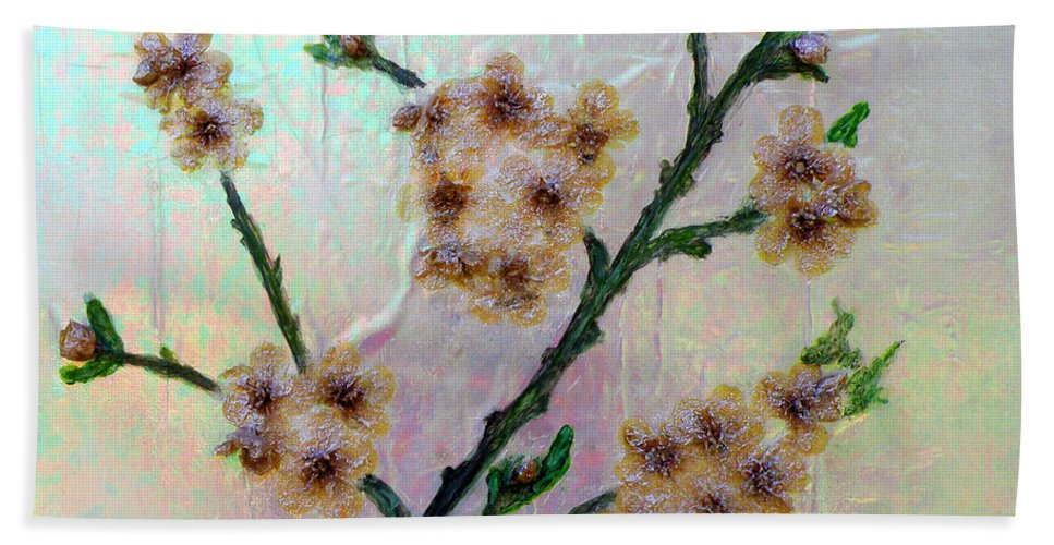 Augusta Stylianou Hand Towel featuring the painting Immortal Almond by Augusta Stylianou