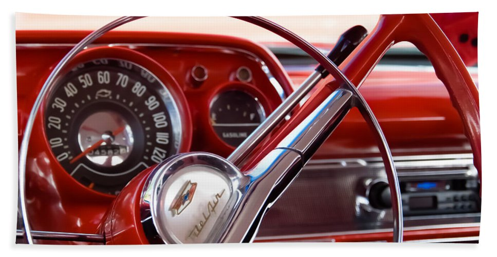 Classic Chevrolets Hand Towel featuring the photograph Red Belair With Dice by Robert VanDerWal