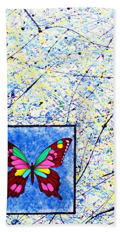 Abstract Bath Towel featuring the painting Imperfect I by Micah Guenther