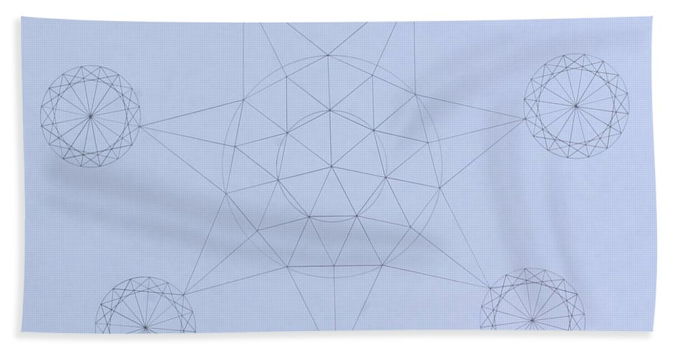 Jason Padgett Bath Towel featuring the drawing Impossible Parallels by Jason Padgett