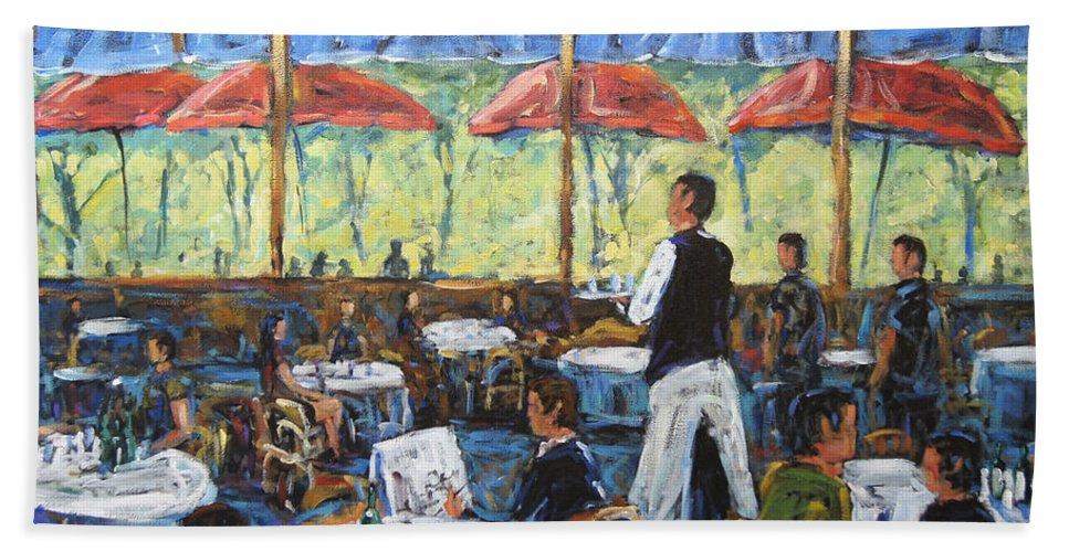 Impresionist Cafe By Prankearts Hand Towel featuring the painting Impresionnist Cafe By Prankearts by Richard T Pranke