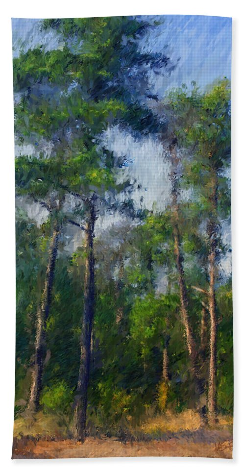 Tree Trees Pine Pines Forest Wood Woods Cape Cod Capecod Summer Impression Impressionism Coldbrook Coldbrook Studio Sargent Hand Towel featuring the digital art Impression Trees by William Sargent