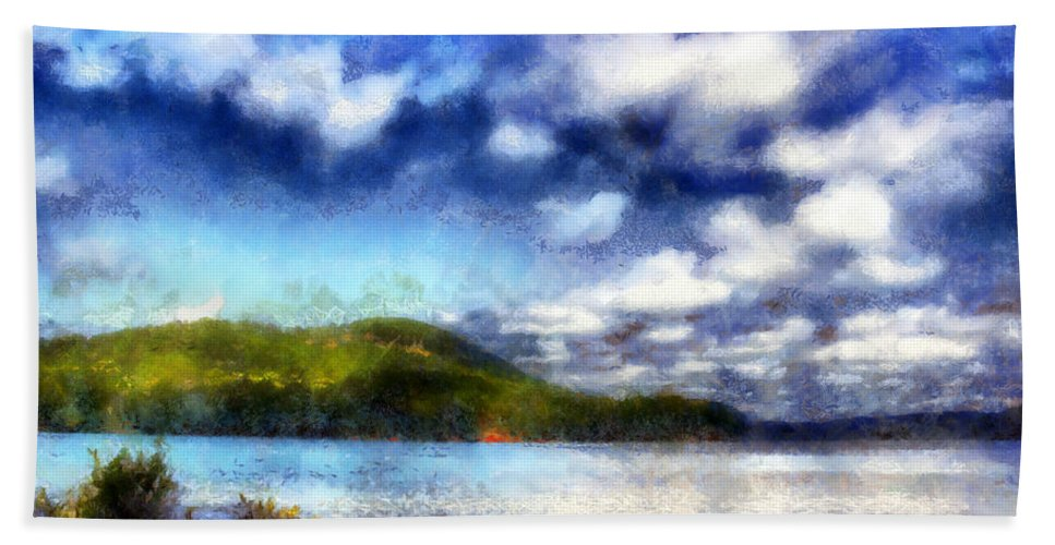 Allatoona Hand Towel featuring the digital art Impressionist Allatoona 2 by Daniel Eskridge