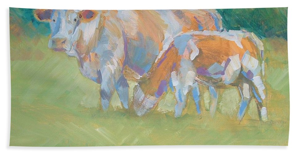 Mike Bath Sheet featuring the painting Impressionist Cow Calf Painting by Mike Jory
