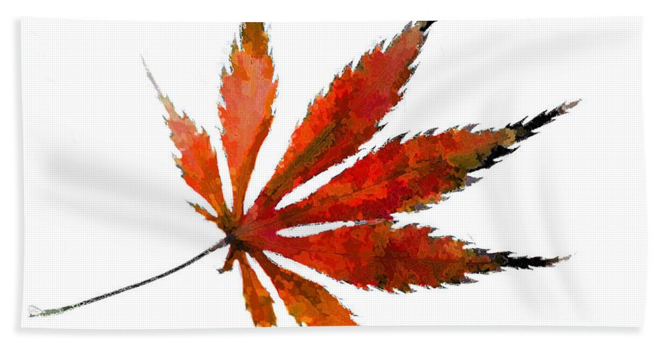 Japanese Bath Sheet featuring the photograph Impressionist Japanese Maple Leaf by Kathy Clark