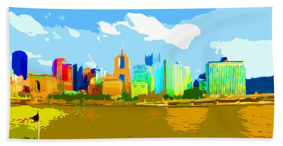 Pittsburgh Bath Sheet featuring the photograph Impressionist Pittsburgh From The North Side by C H Apperson