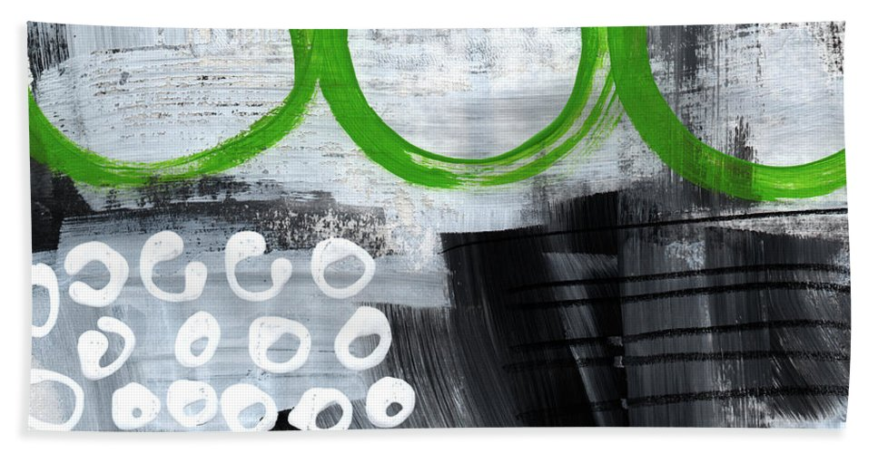 Abstract Hand Towel featuring the painting In Circles- abstract painting by Linda Woods