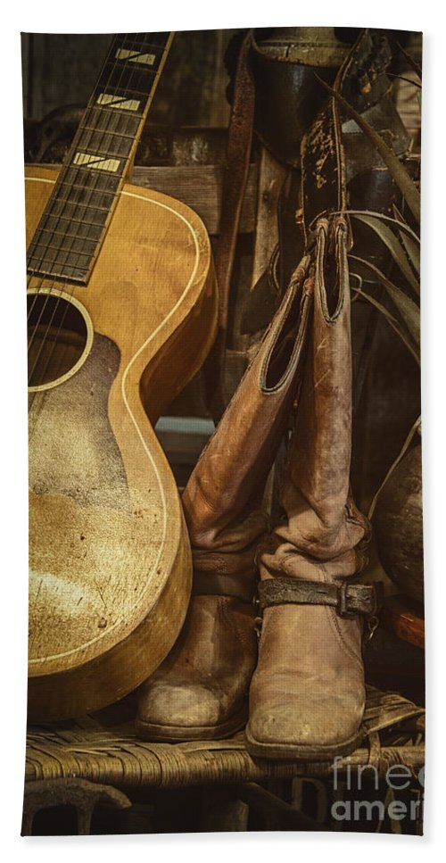 Guitar Hand Towel featuring the photograph In Cowboys Dreams by Margie Hurwich