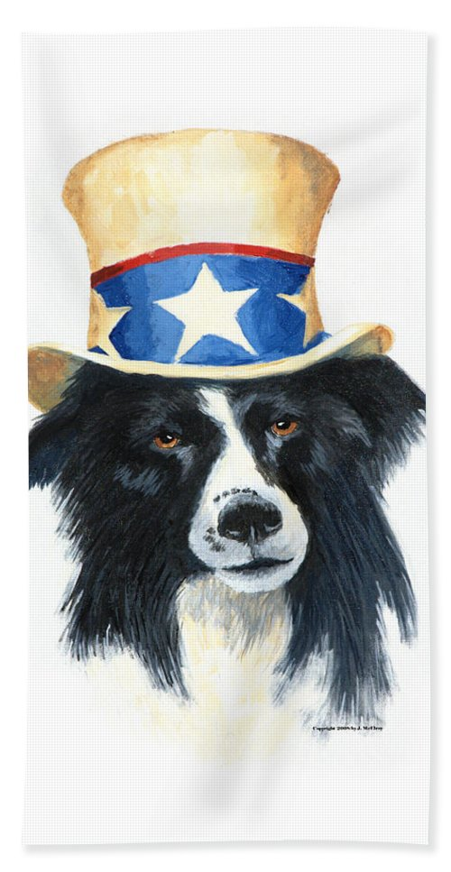 Dog Bath Towel featuring the painting In Dog We Trust by Jerry McElroy