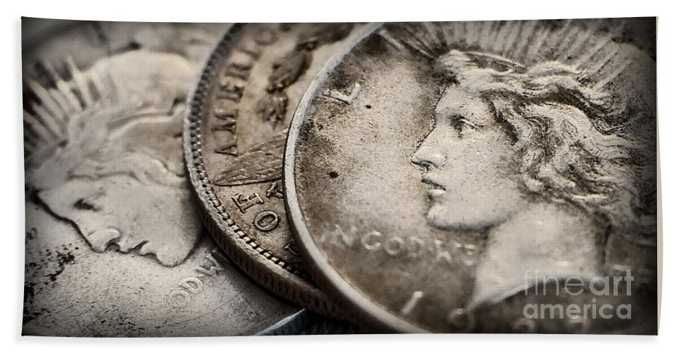 Coin Hand Towel featuring the photograph In God We Trust_silver Dollars by Kathleen K Parker
