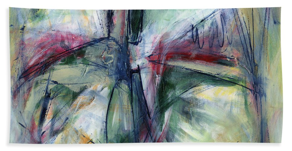 Abstract Bath Sheet featuring the painting In Good Hands by Lynne Taetzsch