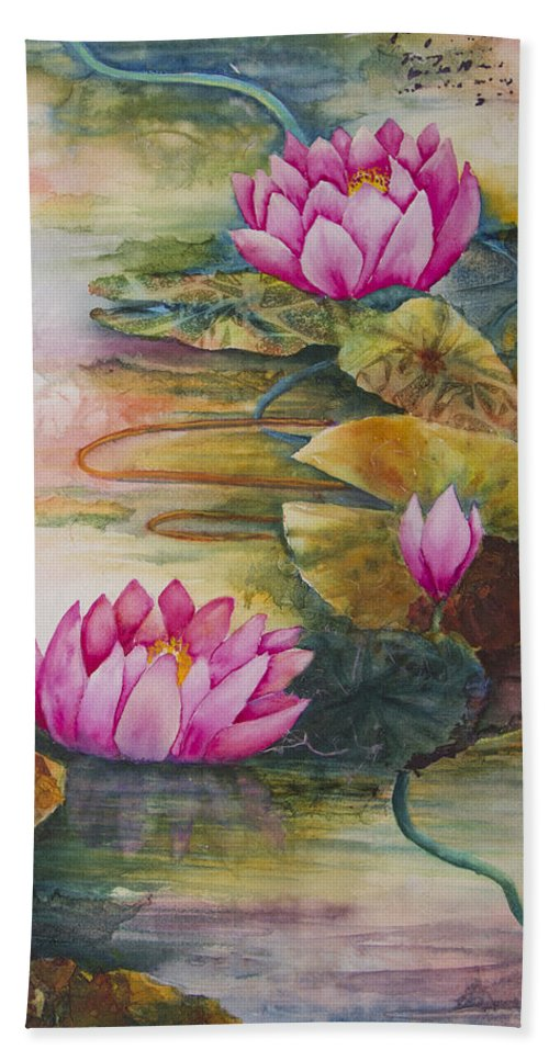 Water Hand Towel featuring the painting In Living Color by Dee Carpenter
