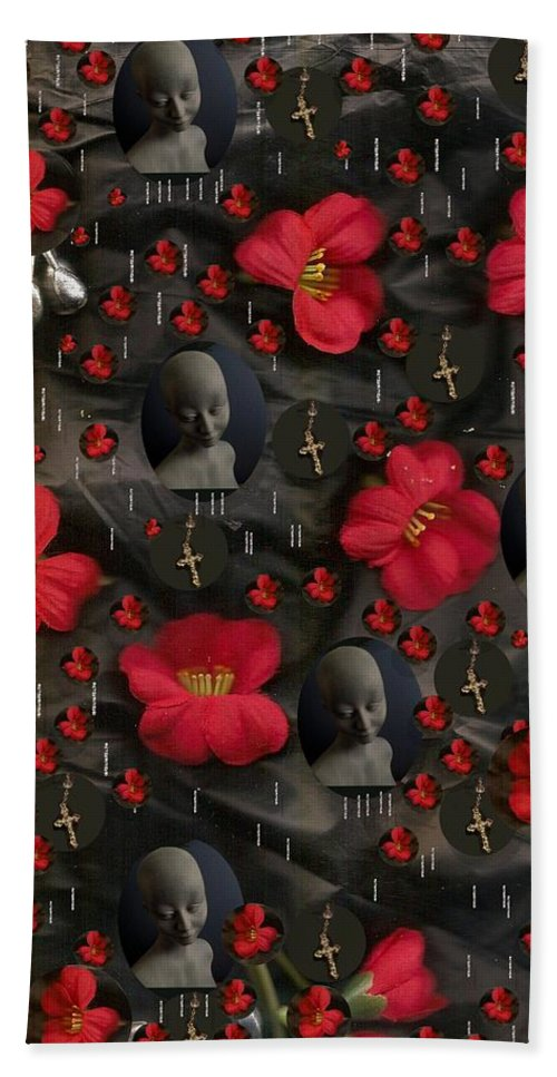 Landscape Hand Towel featuring the mixed media In Love And Respect We Trust by Pepita Selles