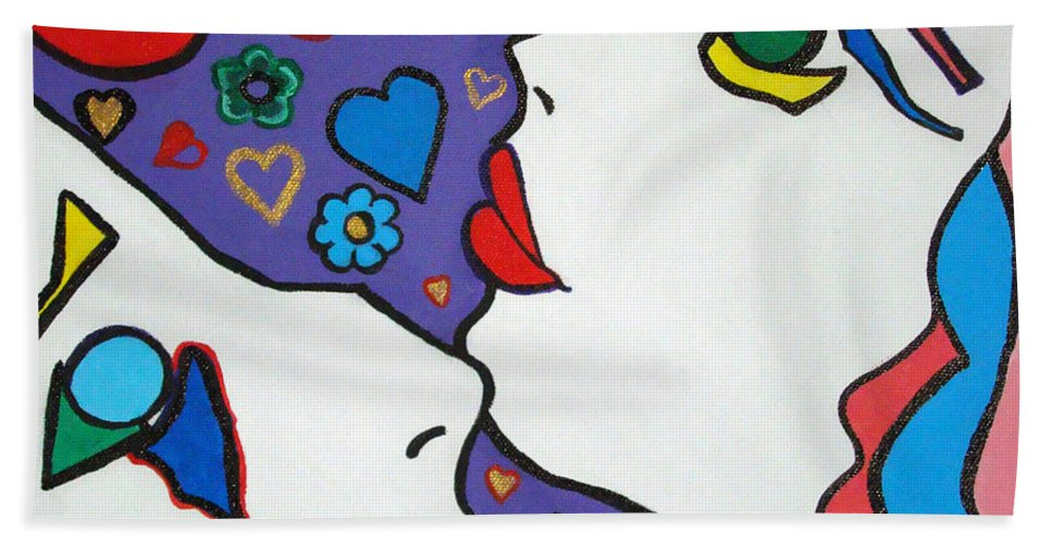 Pop-art Hand Towel featuring the painting In Love by Silvana Abel