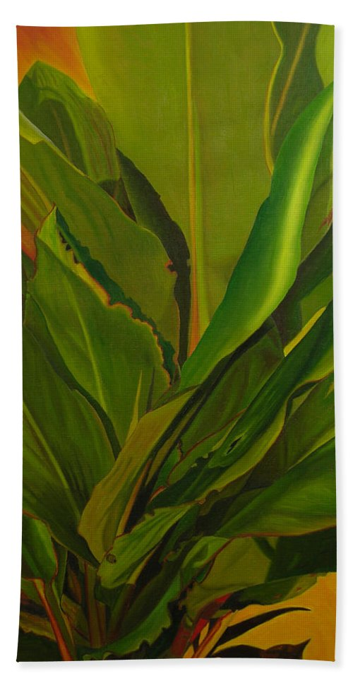 Plant Hand Towel featuring the painting In Loving Memory Of Bobo by Thu Nguyen