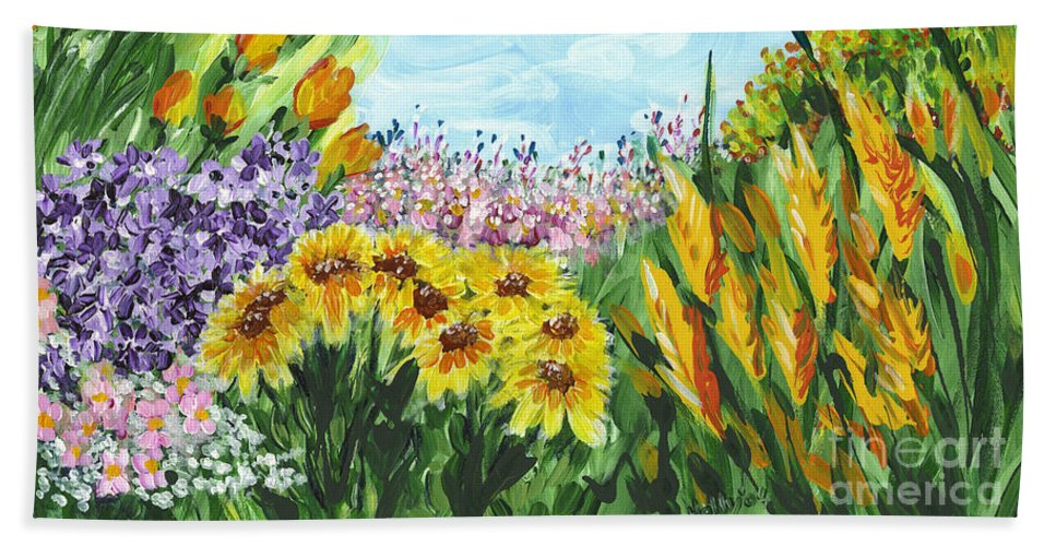 Landscape Bath Sheet featuring the painting In My Garden by Holly Carmichael