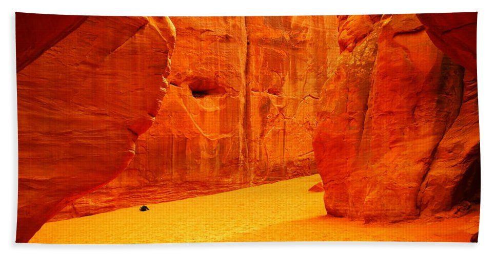 Orange Hand Towel featuring the photograph In Orange Chasms by Jeff Swan