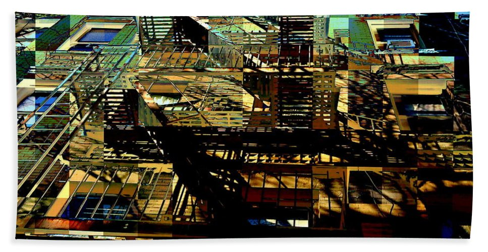 Fire Escapes Hand Towel featuring the photograph In Perspective - Fire Escapes - Old Buildings Of New York City by Miriam Danar