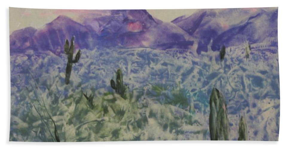 Landscape Bath Sheet featuring the painting In Quietness And Trust by Lynn Quinn