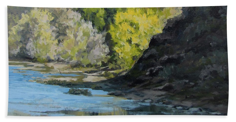 Landscape Hand Towel featuring the painting In Shadow by Karen Ilari