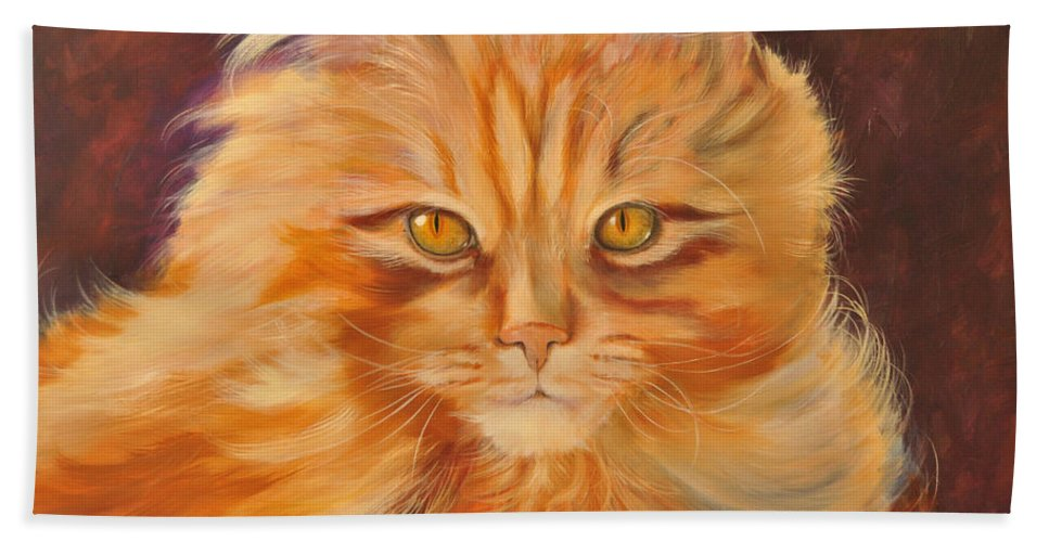 Kitty Hand Towel featuring the painting In Sight by Pamela Bergen