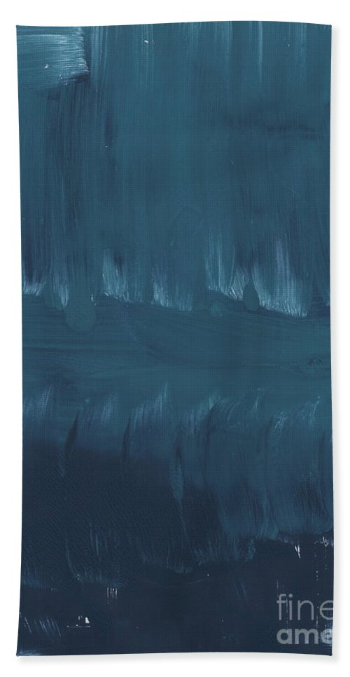 Large Abstract Blue Painting Hand Towel featuring the painting In Stillness by Linda Woods