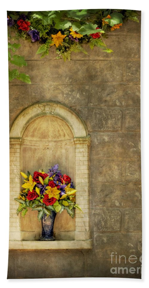 Flowers; Bouquet; Colorful; Bright; Vase; Alcove; Garden; Leaves; Stone; Hdr; Building; Architecture; Detail; Arch; Facade; Beautiful; Nature; Lovely; Brick; Arrangement; Blossoms; Plant; Stems; Cut; Serene; Still Life; Sill Hand Towel featuring the photograph In The Alcove by Margie Hurwich