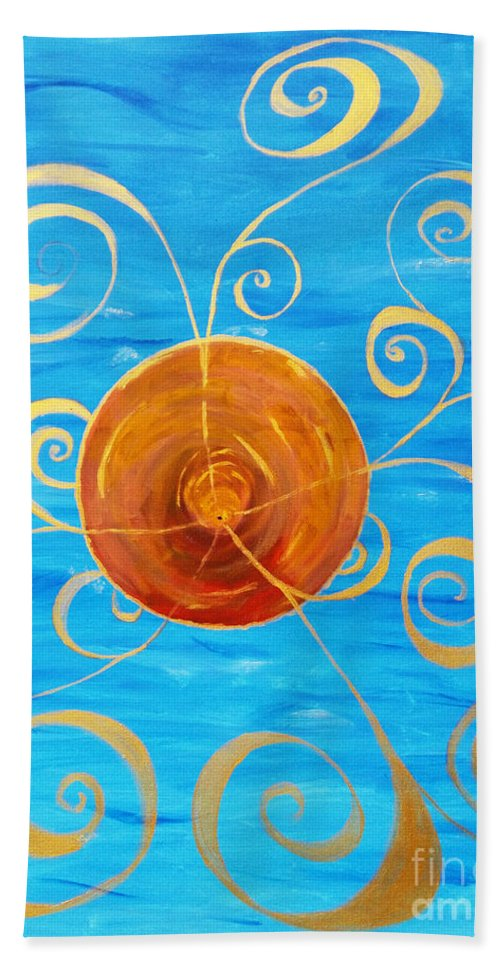 Abstract Bath Sheet featuring the painting In The Beginning by Aurorah Kelevh