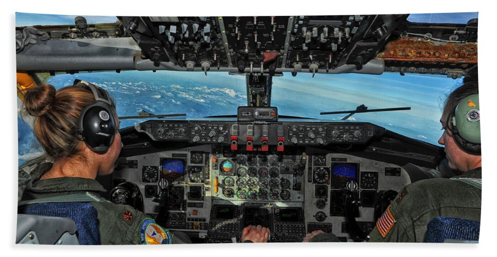Kc-135 Stratotanker Hand Towel featuring the photograph In The Cockpit Of A Kc-135 Stratotanker by Mountain Dreams