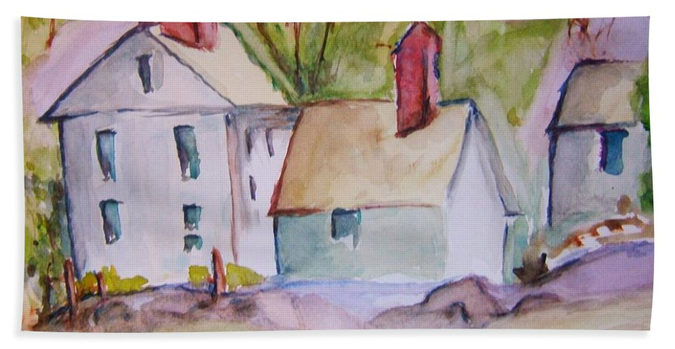 Barn Hand Towel featuring the painting In The Country by Elaine Duras