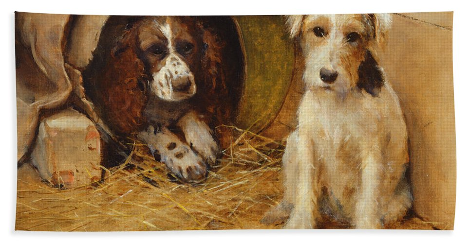 Dog Bath Sheet featuring the painting In The Dog House by Samuel Fulton