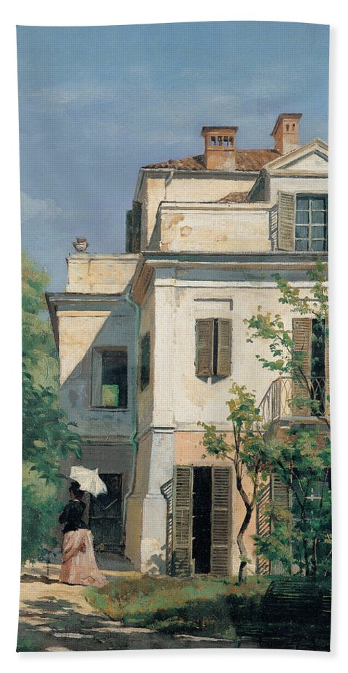 Garden Hand Towel featuring the painting In The Garden by Demetrio Cosola