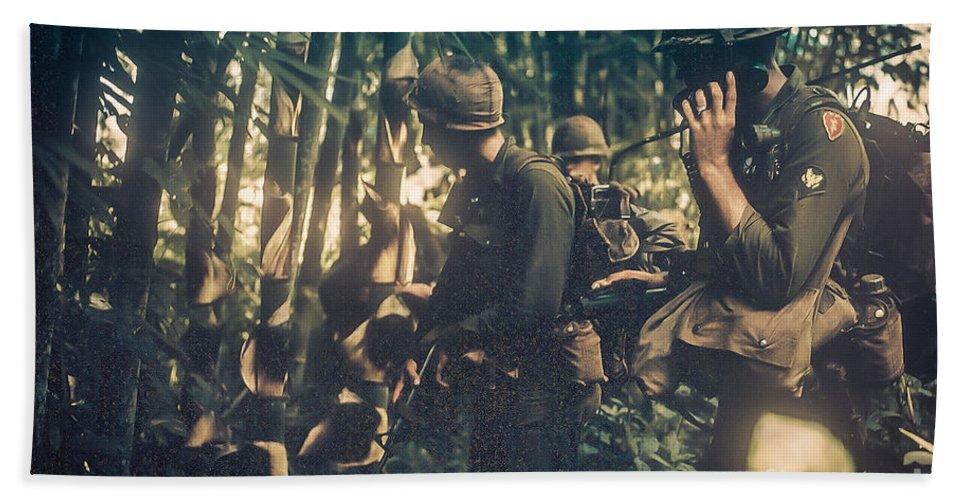 Vietnam Bath Sheet featuring the photograph In The Jungle - Vietnam by Edward Fielding
