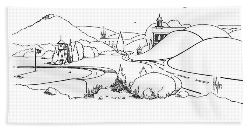 In The Land Of Brigadoon Hand Towel featuring the drawing In The Land Of Brigadoon by Kip DeVore