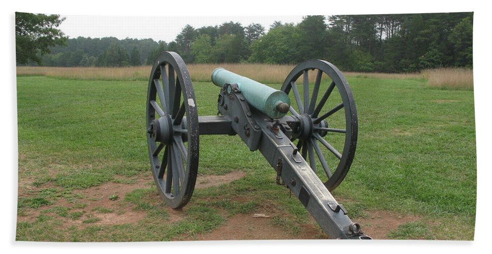 Cannon Bath Sheet featuring the photograph In The Line Of Fire - Manassas Battlefield by Christiane Schulze Art And Photography