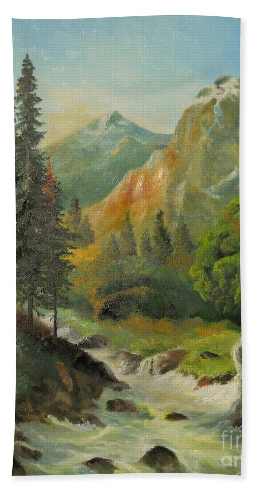 Autumn Bath Sheet featuring the painting In The Mountains by Sorin Apostolescu