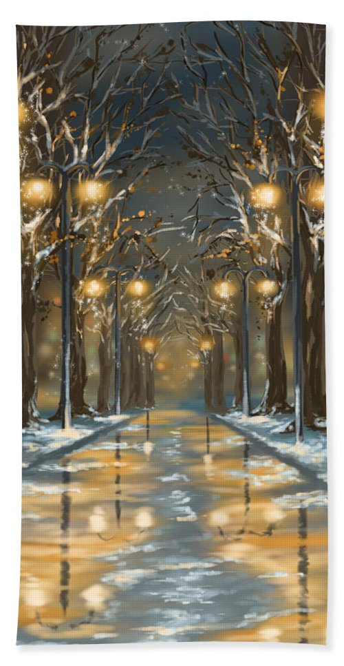 Winter Hand Towel featuring the painting In The Park by Veronica Minozzi