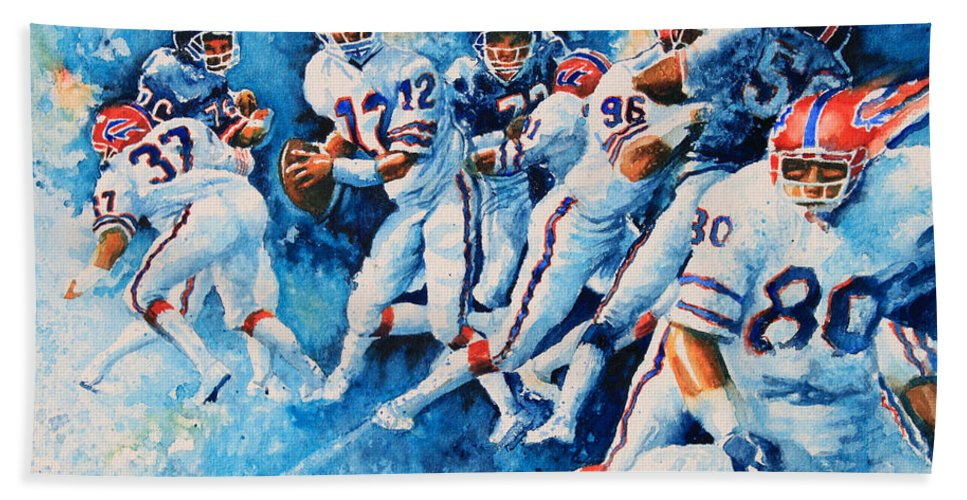 Sports Art Bath Sheet featuring the painting In The Pocket by Hanne Lore Koehler