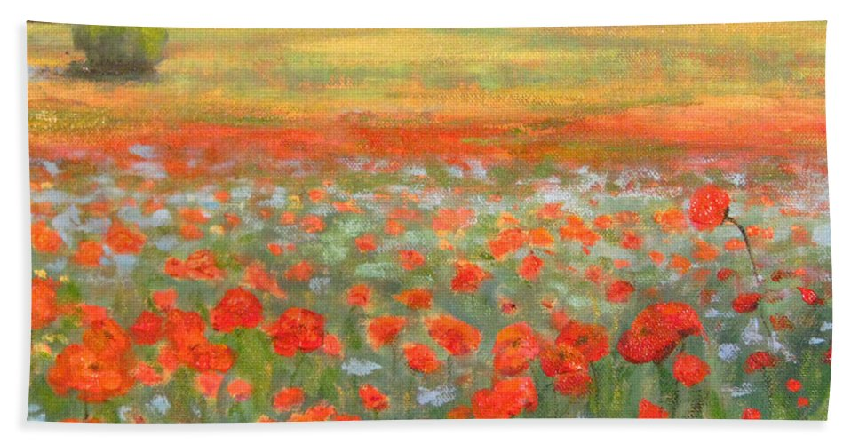 Flower Hand Towel featuring the painting In The Poppy Field by Robie Benve