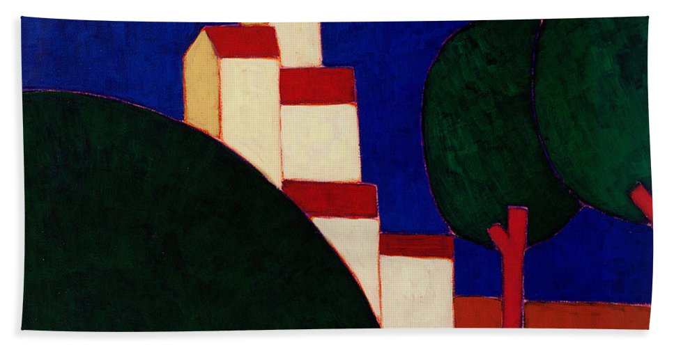 Representational Art Later 20th Cent Hand Towel featuring the painting In The Provencal Alps by Eithne Donne