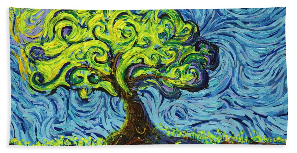 Landscape Hand Towel featuring the painting In The Shade Of Glory by Stefan Duncan