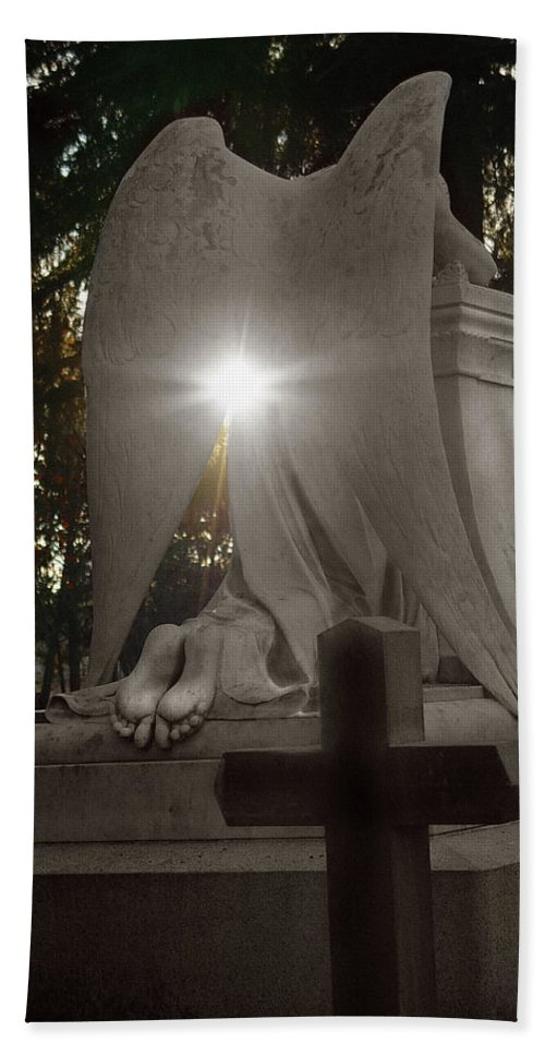 Guardian Hand Towel featuring the photograph In The Shadow Of His Light by Peter Piatt