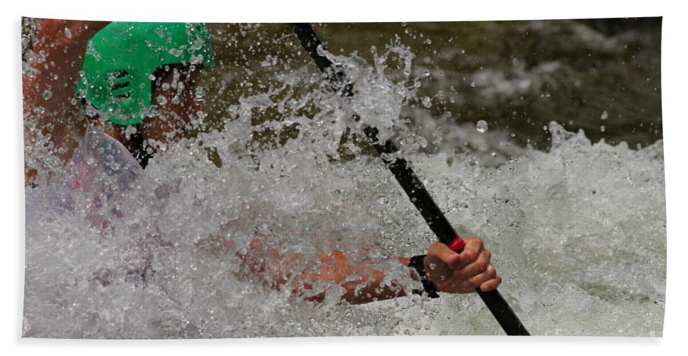 Kayak Hand Towel featuring the photograph In The Spray by Les Palenik