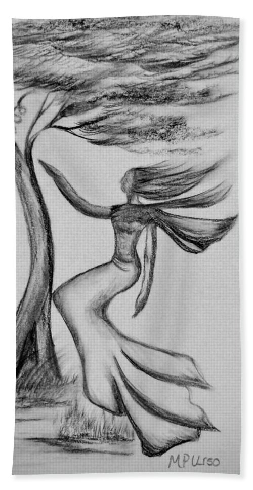 In The Wind She Dances Hand Towel featuring the drawing In The Wind She Dances by Maria Urso