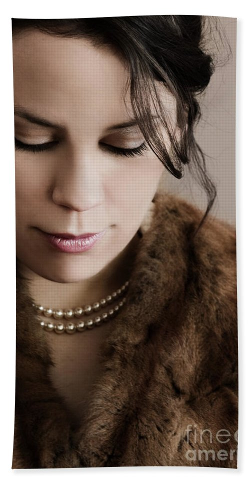 Woman; Lady; Female; Beautiful; Elegant; Formal; Fur; Coat; Neck; Chin; Pearls; String; Wealthy; Expensive; Lips; Lipstick; Looking Down; In Thought; Sad; Depressed; Loss; Caucasian Hand Towel featuring the photograph In Thought by Margie Hurwich