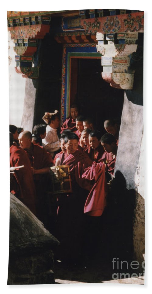 First Star Hand Towel featuring the photograph In Tibet Tibetan Monks 5 By Jrr by First Star Art