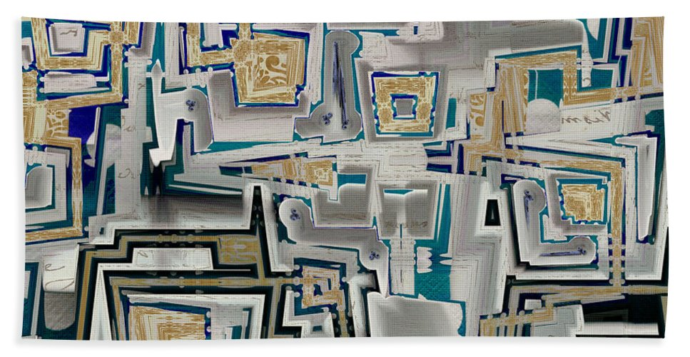 Abstract Hand Towel featuring the digital art Inboxed - S03a by Variance Collections