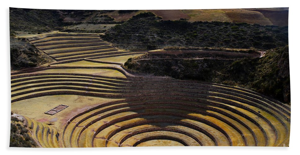 Inca Hand Towel featuring the photograph Inca Crop Circles At Moray by Catherine Sherman