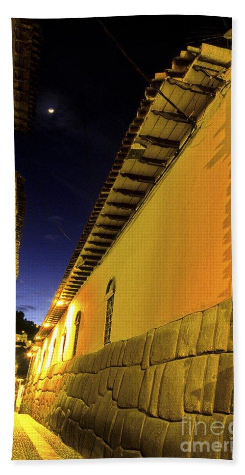 Alley Hand Towel featuring the photograph Incan Street Cusco Peru by Ryan Fox